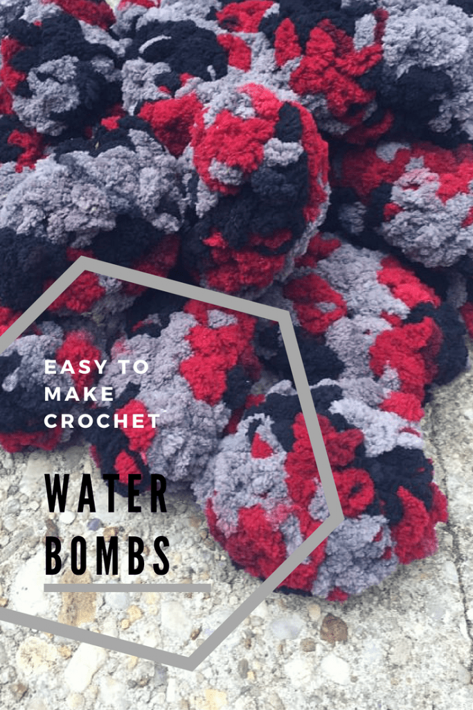 Free easy to make pattern for crochet water balloons, aka water bombs! Easy to make and has a stitch tutorial! From My Workbasket