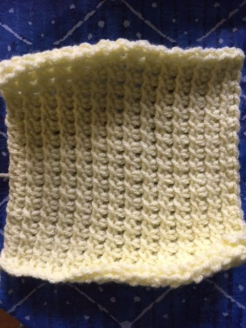 Finished square for the Tunisian CAL done in the Tunisian Crossed Stitch.