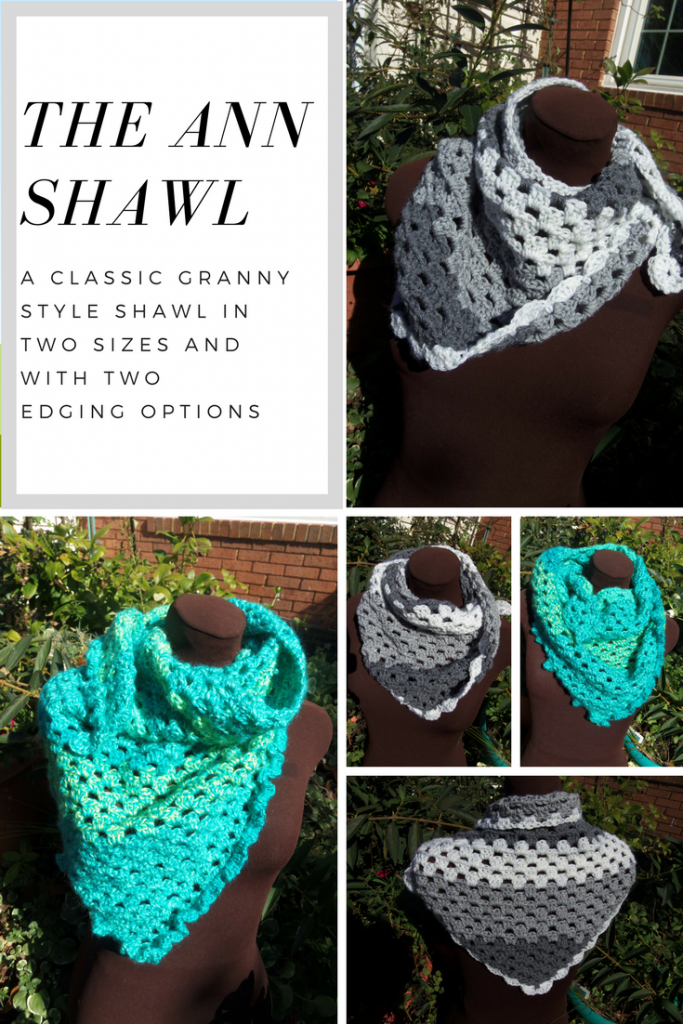 A classic granny style triangle shawl/scarf in an easy stitch, with two sizes and two edging options-- My Workbasket