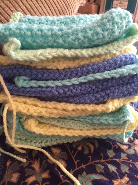 My stack of blocks for the Tunisian Crochet Throw-- My Workbasket