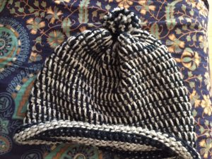 The finished Hygge Hat that was worked flat-- My Workbasket