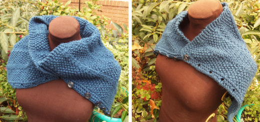Versatile button cowl with a variety of ways to wear it! Free knitting Pattern from My Workbasket