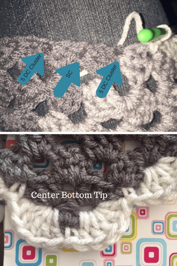 How to identify the base of a Granny Cluster to complete the Scallop Border on an Ann Granny Shawl- My Workbasket