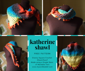 Free pattern for the Katherine Shawl/Scarf. Made using just a singe cake of colorful yarn, and beginner friendly!!! From My Workbasket