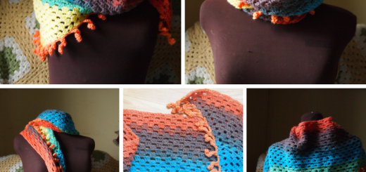 Free pattern for the crochet Katherine Shawl, a shawl/scarf that uses a single cake of light weight yarn! From My Workbasket
