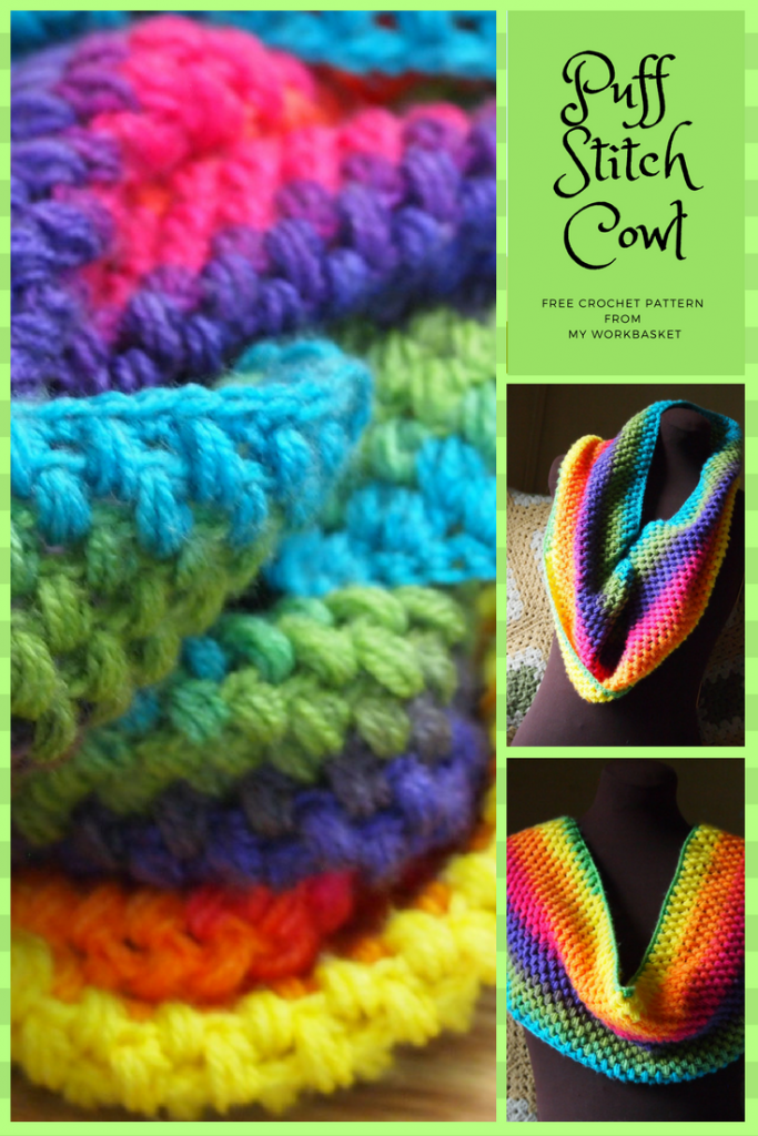 Free crochet pattern for this puff stitch cowl, WITH stitch tutorial video-- From My Workbasket