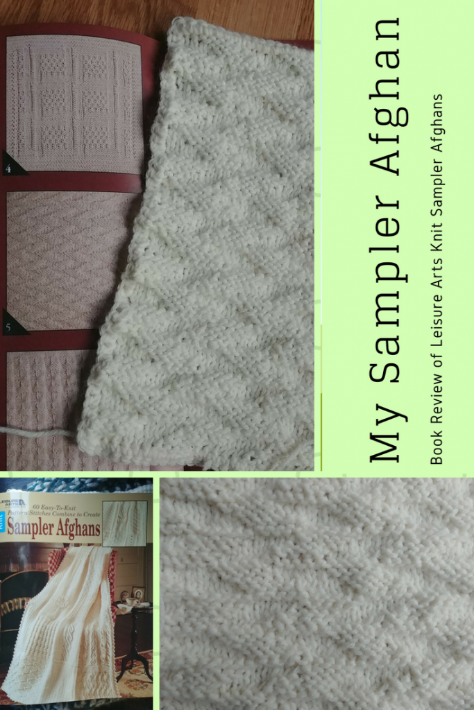 My first block is done so I show it off, and review the knit Sampler Afghans book from Leisure Arts-- My Workbasket