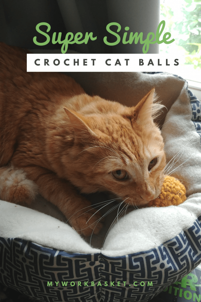 A free crochet pattern for super simple cat ball toys!